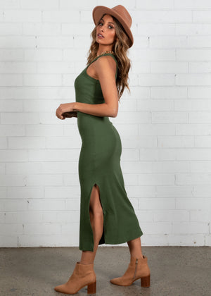 Real Romance Midi Dress - Khaki