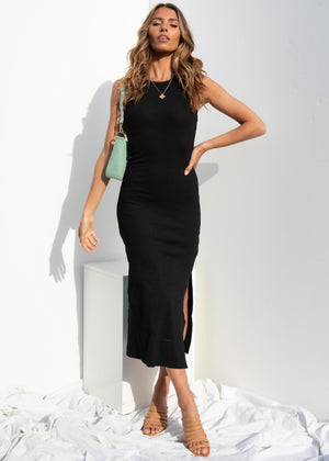 Real Romance Midi Dress - Black