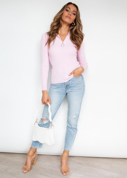 Soda Zip Knit Top - Candy Pink