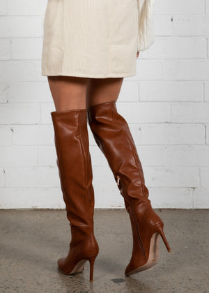 Naveen Knee High Boot - Dark Tan