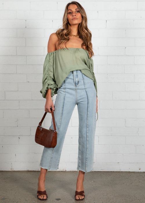 Marjelle Ruched Blouse - Sage