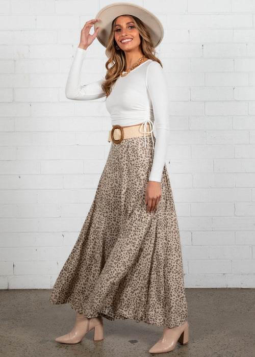 Indi Wide Leg Pants - Beige Cheetah