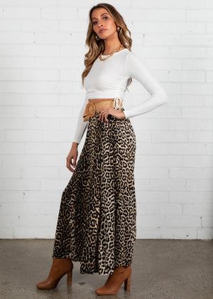 Indi Wide Leg Pants - Leopard