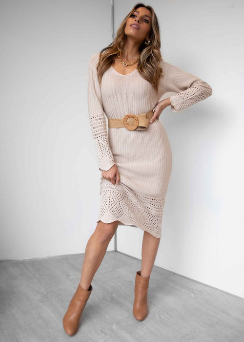 Weekends Away Knit Midi Dress - Oatmeal