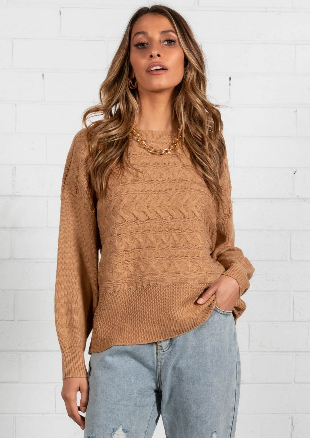 Macabee Cable Sweater - Tan
