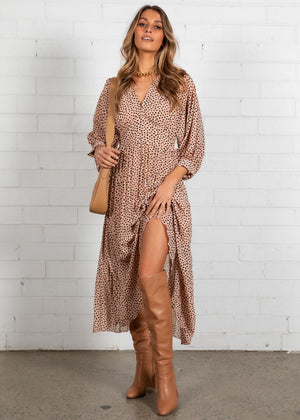 Aluna Midi Dress - Nude Leopard