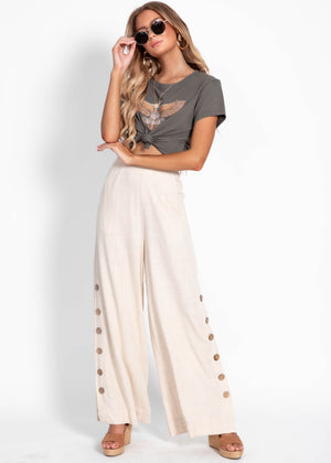 Nikay Wide Leg Pants - Natural