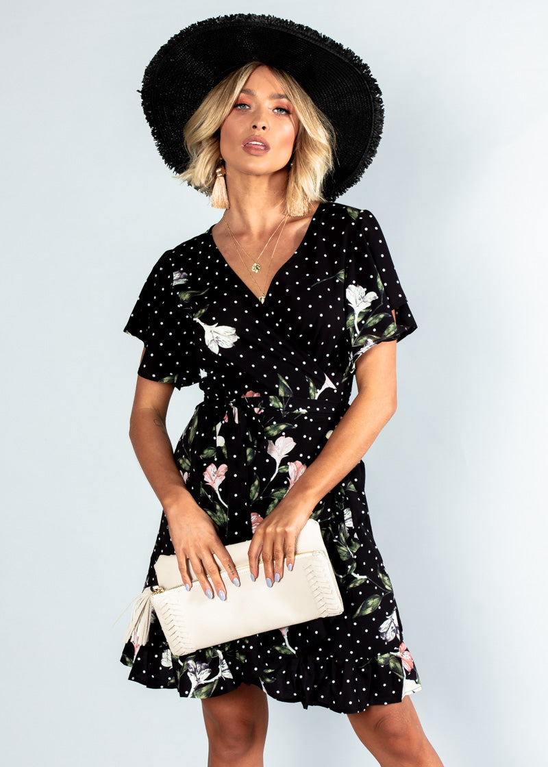 Beyond Belief Wrap Dress - Black Floral