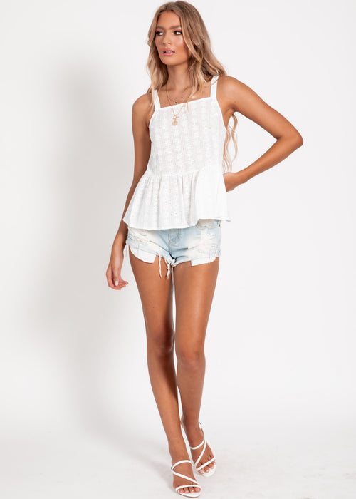 Darcy Top - White Anglaise