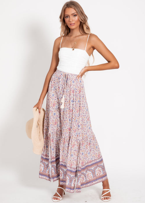 Isla Maxi Skirt - Pink Floral