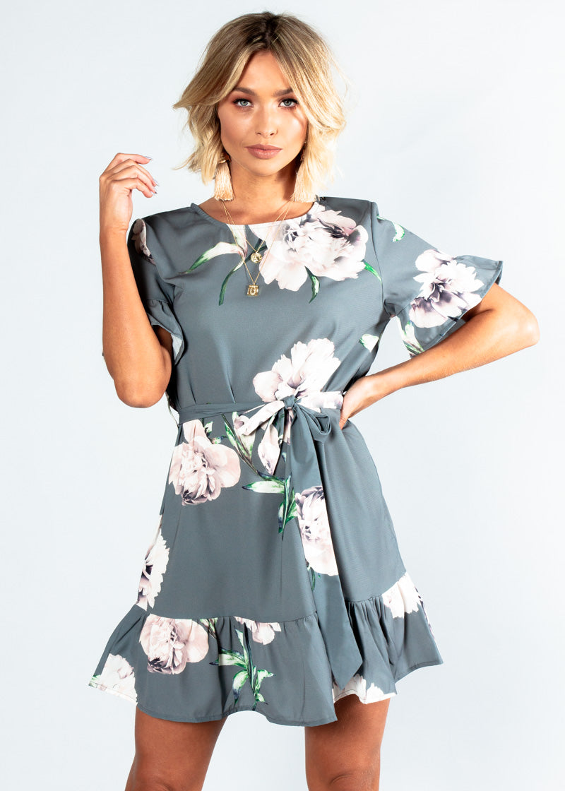 Read My Lips Dress w/ Tie - Khaki Grey Floral