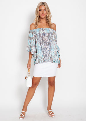 Shreya Off The Shoulder Blouse - Turquoise Gem