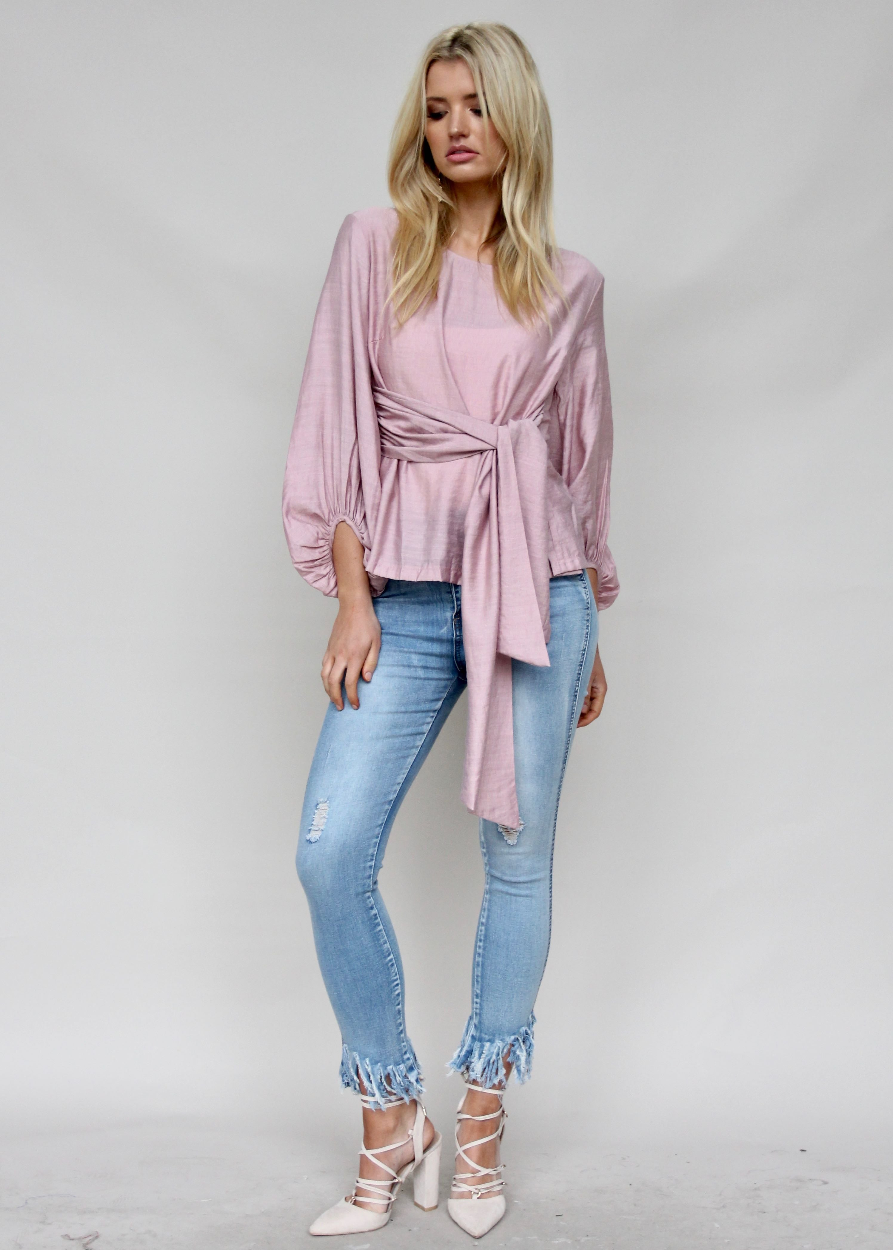 Born To Dare Tie Blouse - Dusty Pink