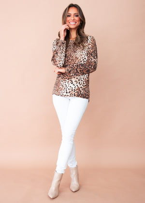 Jasper Zip Back Blouse - Leopard