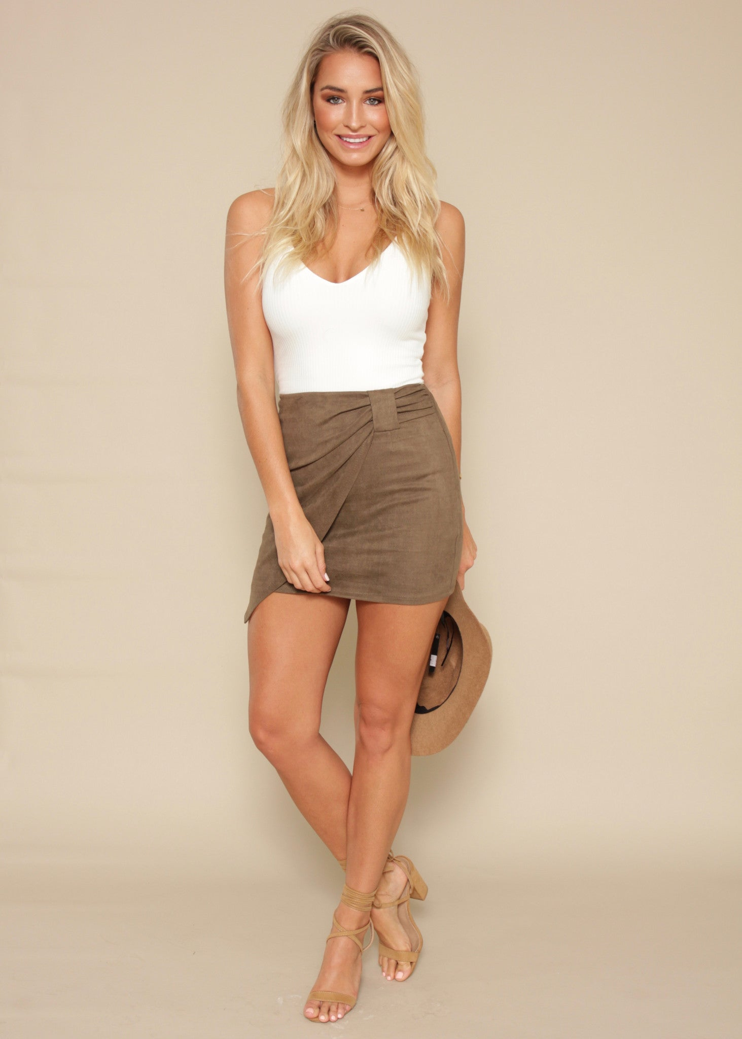 Closer In Time Skirt - Khaki