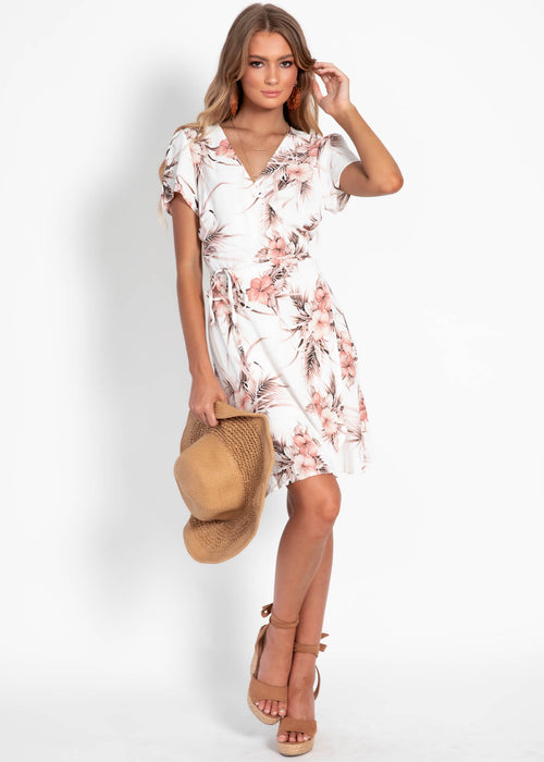 Kennedy Wrap Dress - White Floral