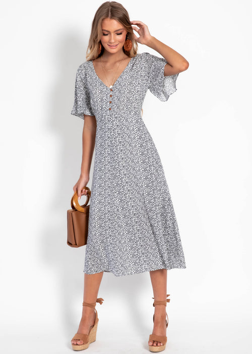 Lillian Midi Dress - White Floral