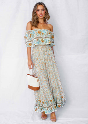 Sonata Off Shoulder Maxi Dress - Petra
