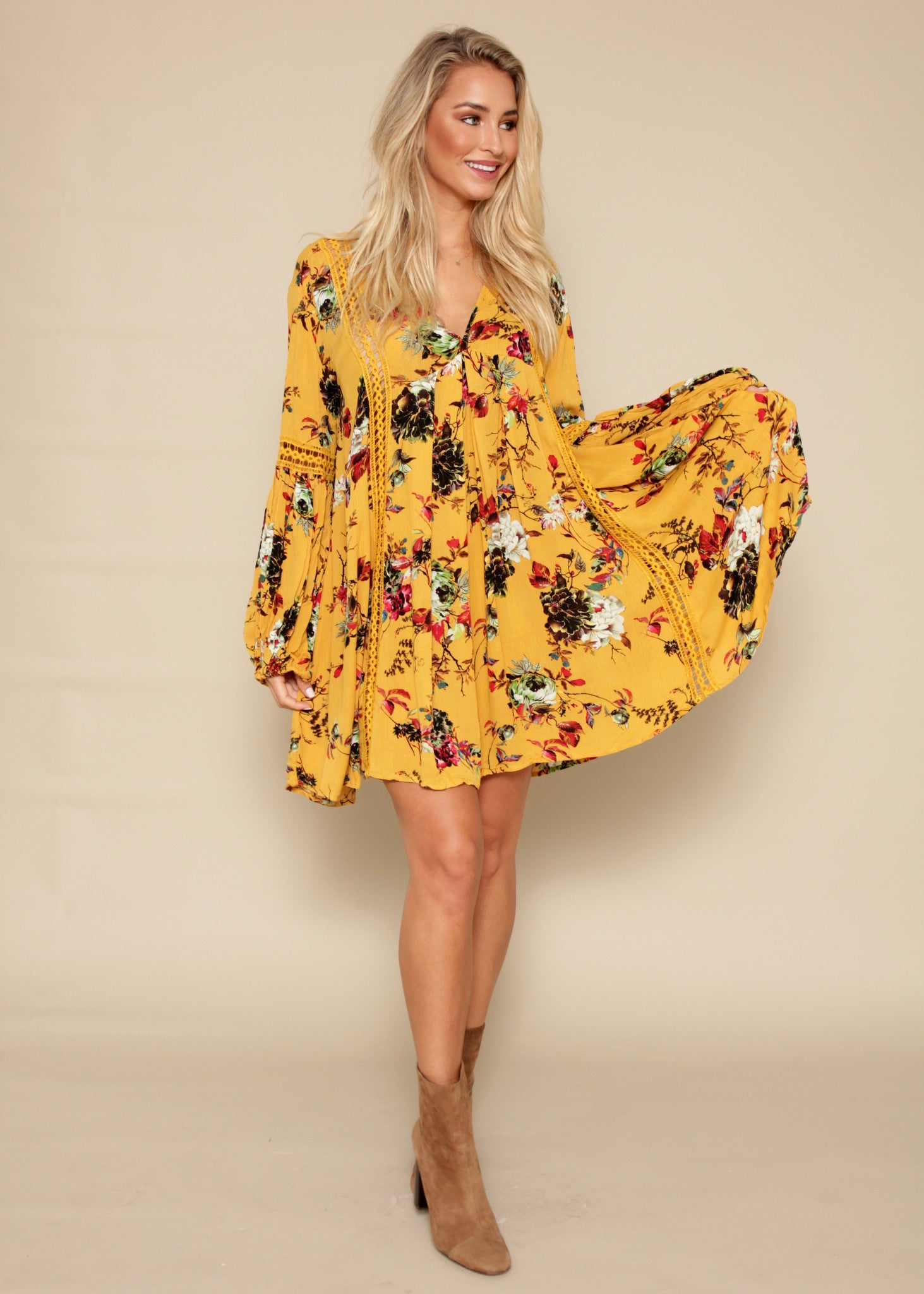 Break The Rules Tunic Dress - Mustard Floral
