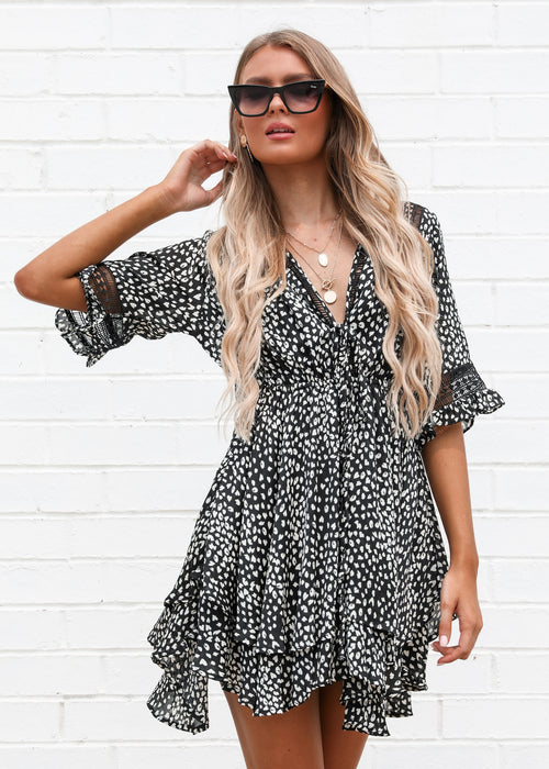 Running Free Dress - Black Spot