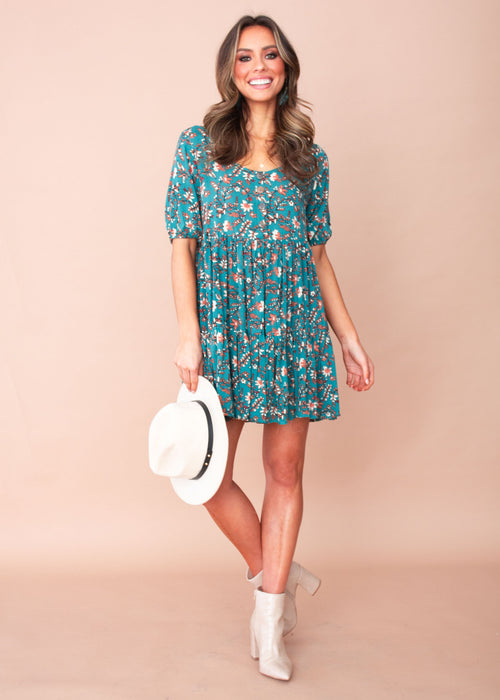 Akira Dress - Teal/Tan Floral
