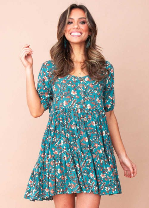 Women's Akira Dress - Teal/Tan Floral