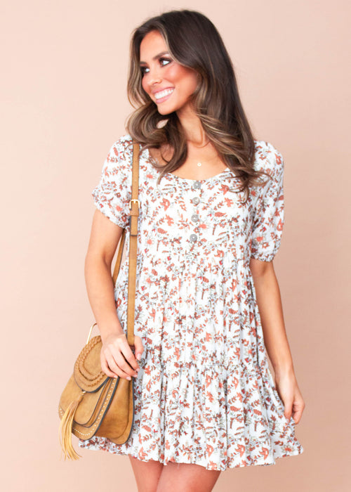 Women's Akira Dress - White/Tan Floral