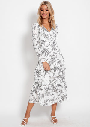 Aperol Maxi Dress - White Leaf