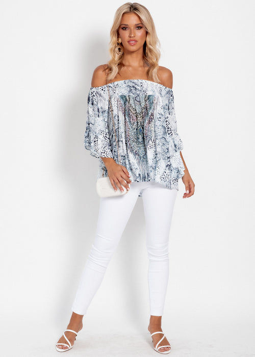 Shreya Off Shoulder Top - Blue Viper