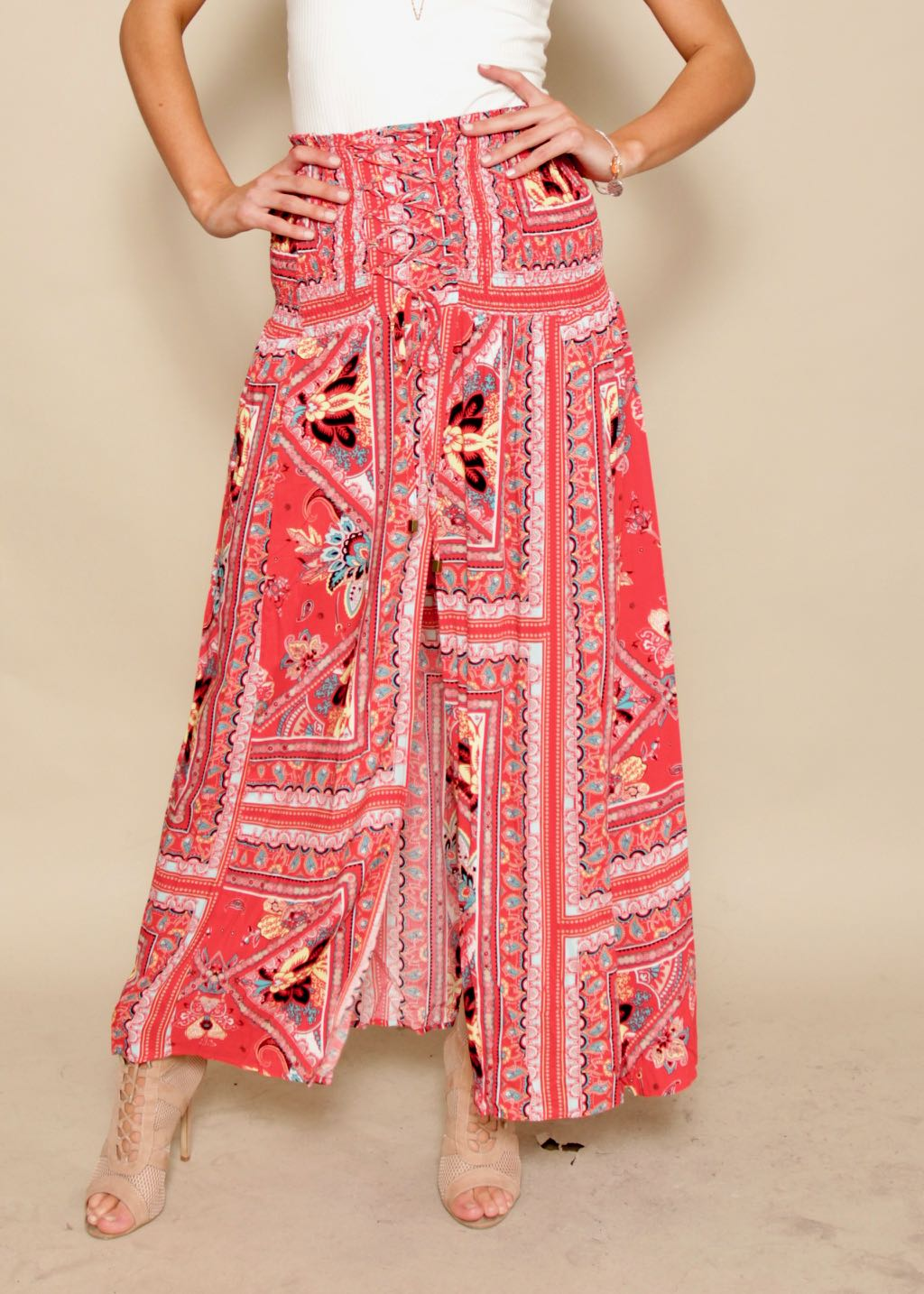 Elastic Lover Maxi Skirt - Red