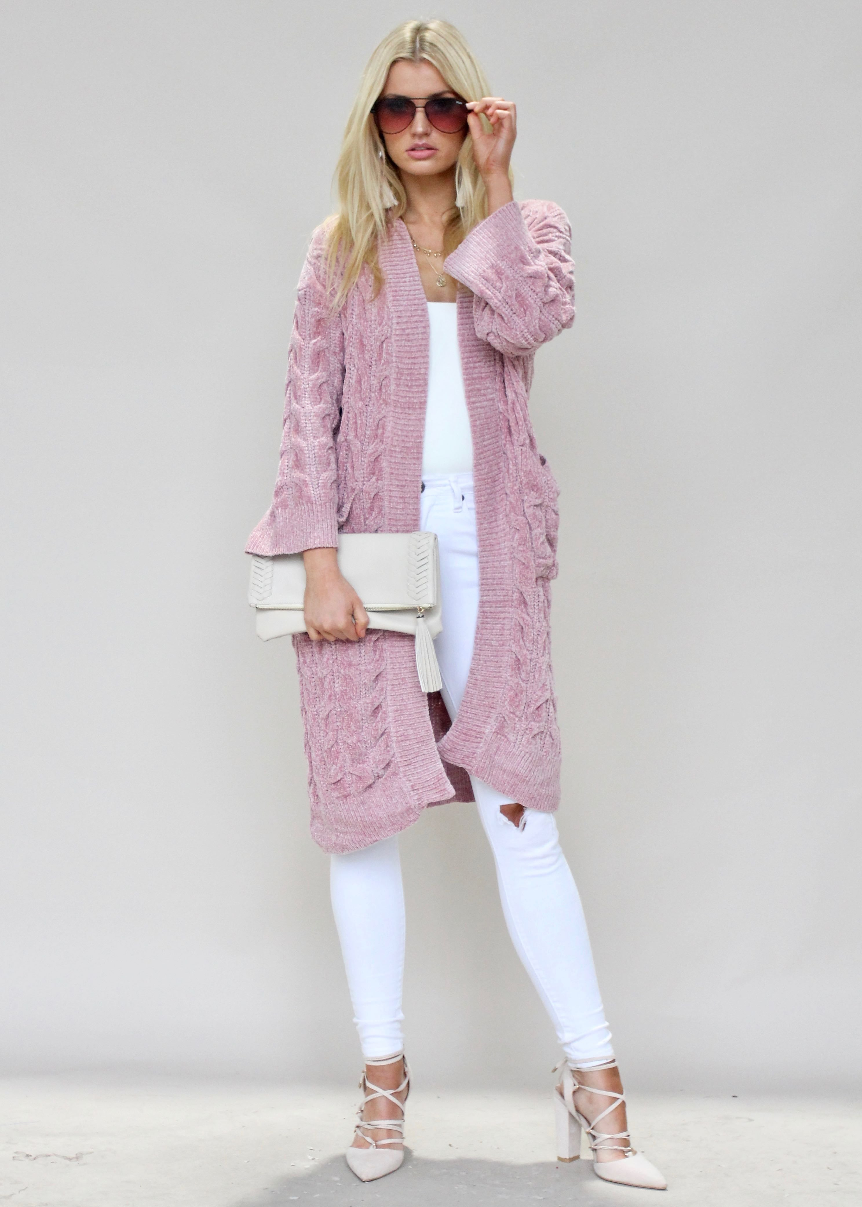 Way Home Chenille Cardigan - Dusty Pink
