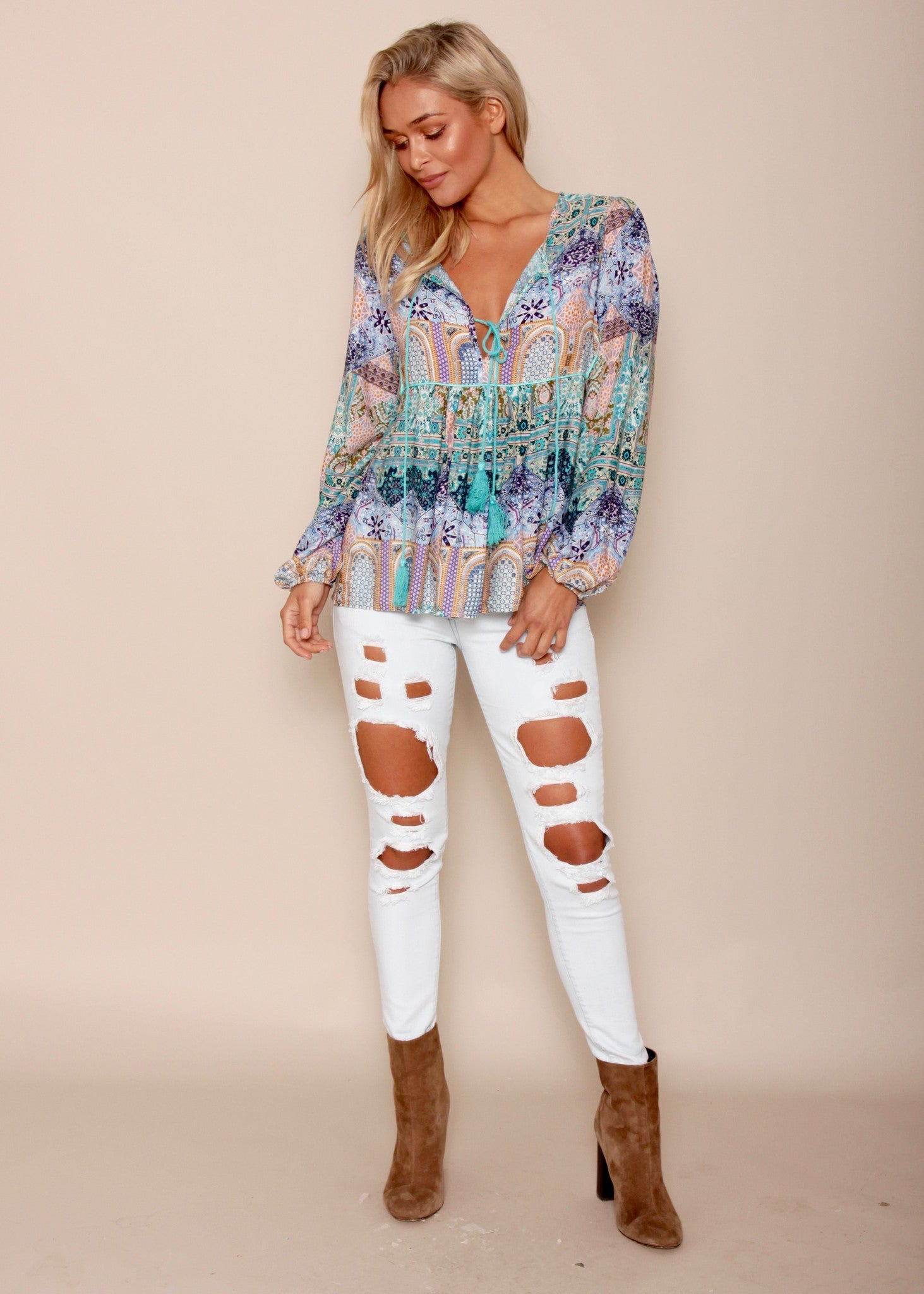 Freedom Reigns Blouse - Mosaic