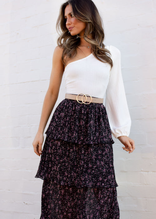 Women's Sabina Midi Skirt - Black Floral