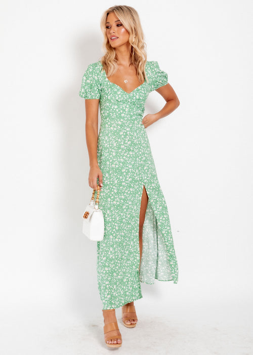 Brinley Dress - Green Floral