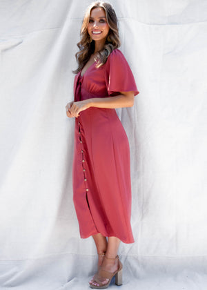 Francessca Midi Dress - Baked Rose