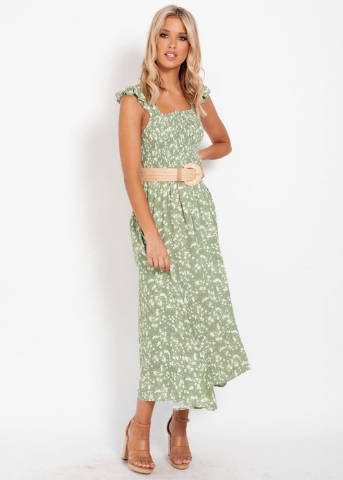 Honeymooner Maxi Dress - Khaki Floral