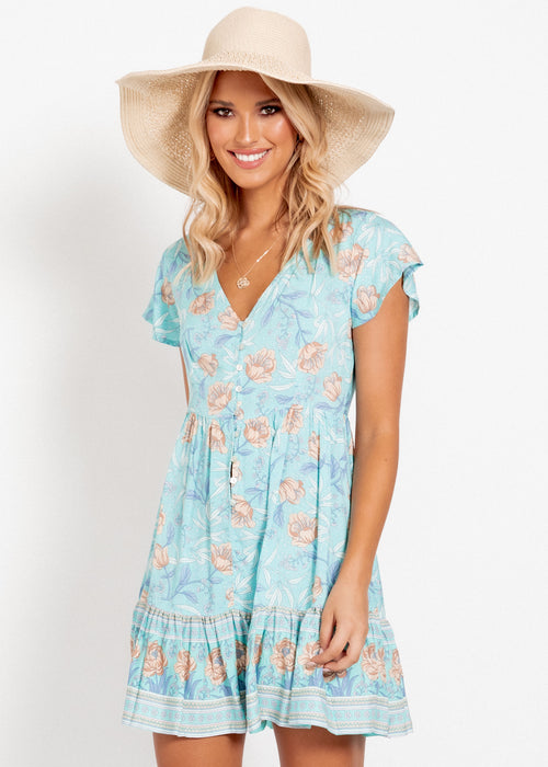 Tamsen Swing Dress - Sky Floral
