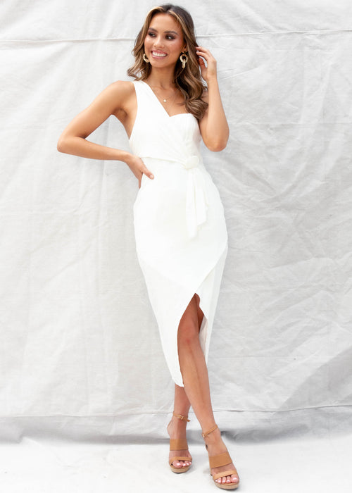 Fantasy Midi Dress	 - White
