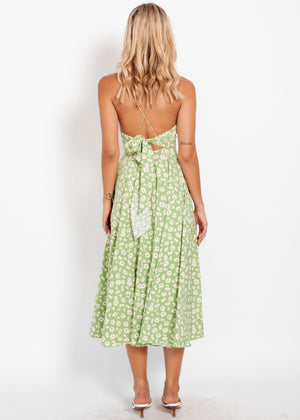 Take The Plunge Midi Dress - Green Floral