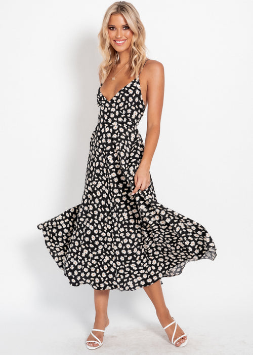 Take The Plunge Midi Dress - Black Floral