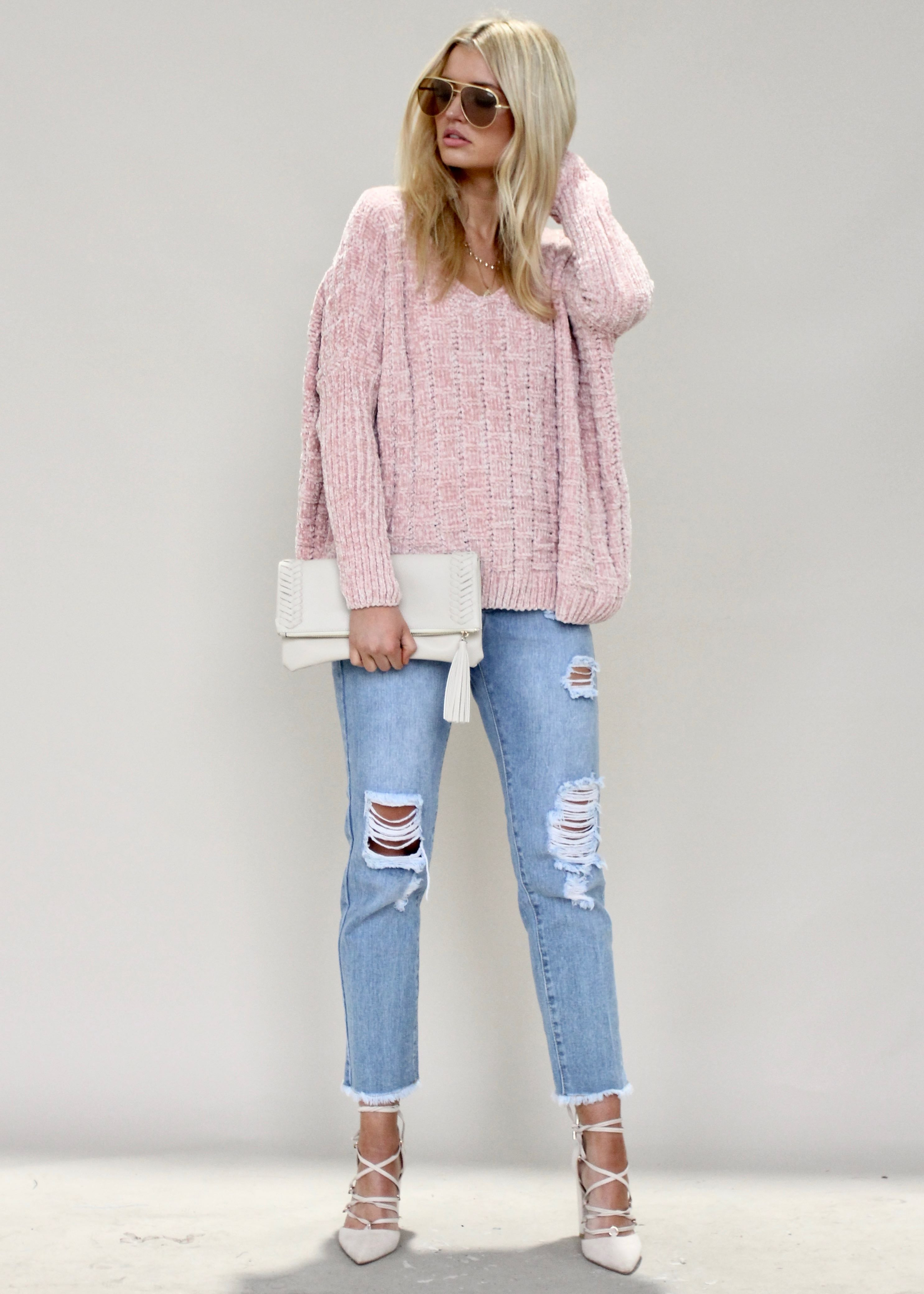 On Your Side Chenille Sweater - Pink