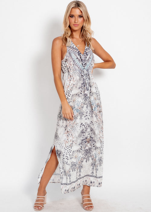 Wandering Mind Maxi Dress - Snow Leopard