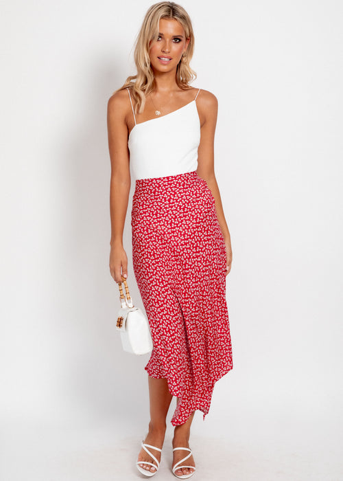 Persuasion Asymmetrical Skirt - Red Floral