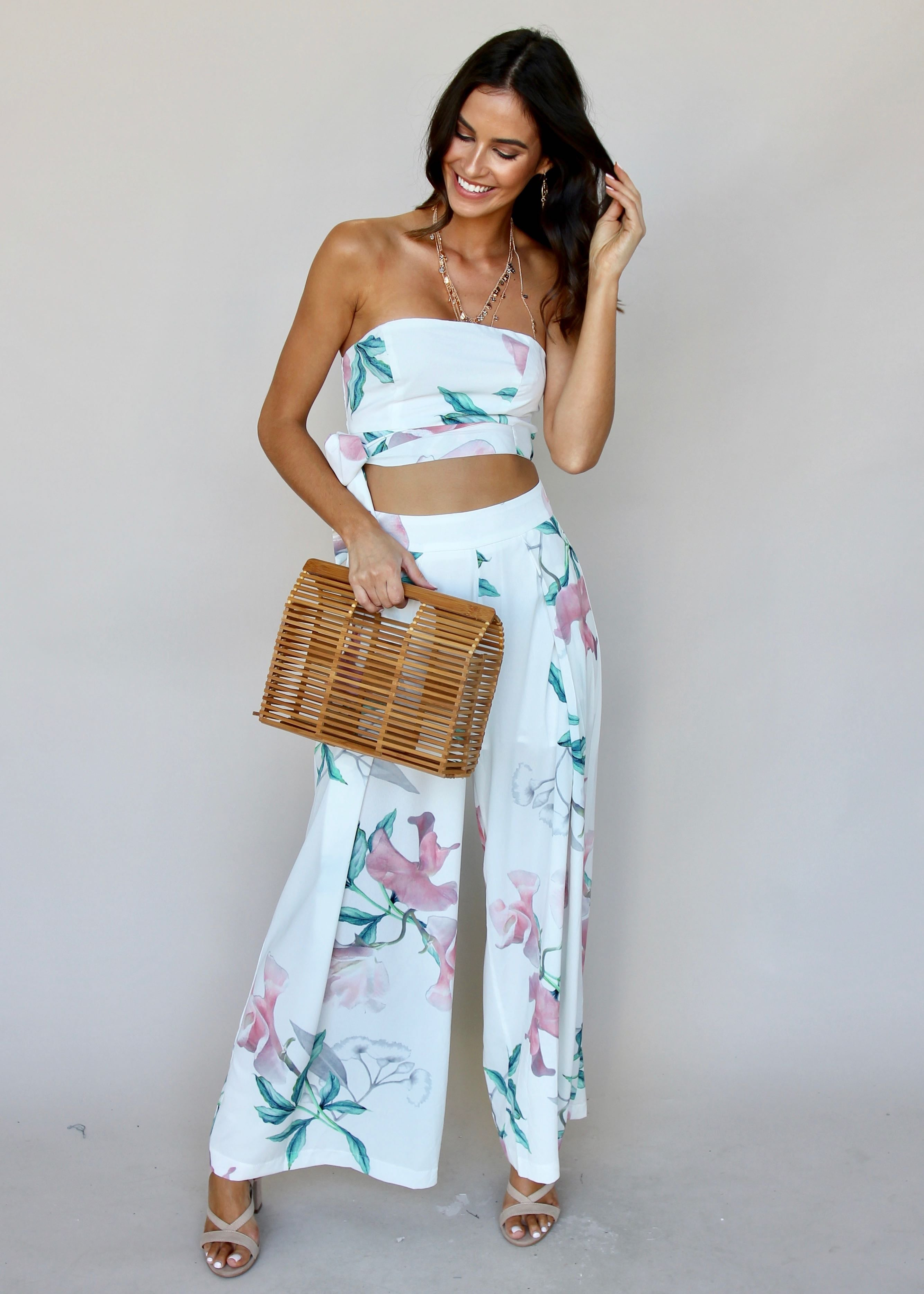Above Your Love 2-Piece Set - White Tropical