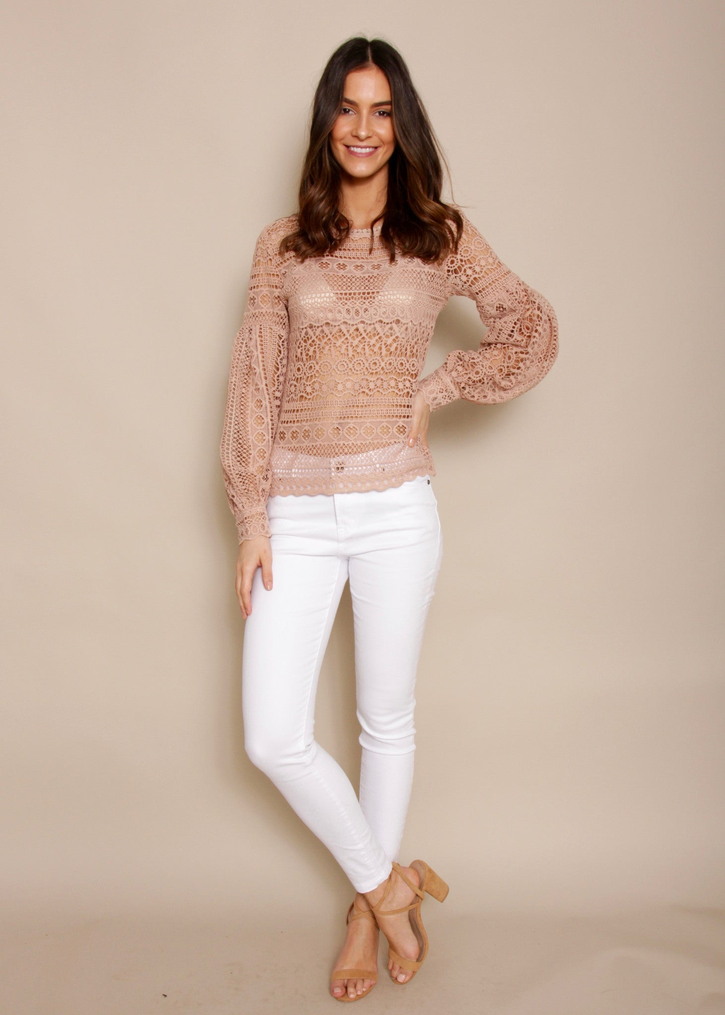Aurora Lace High Neck Blouse- Dusty Pink