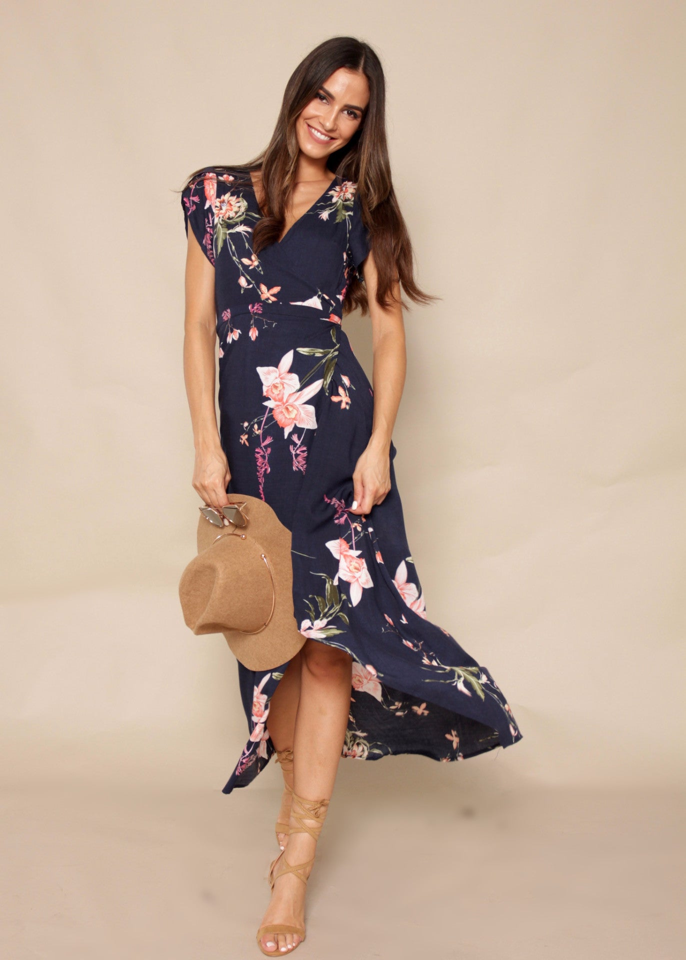 Santana Wrap Dress - Navy Floral
