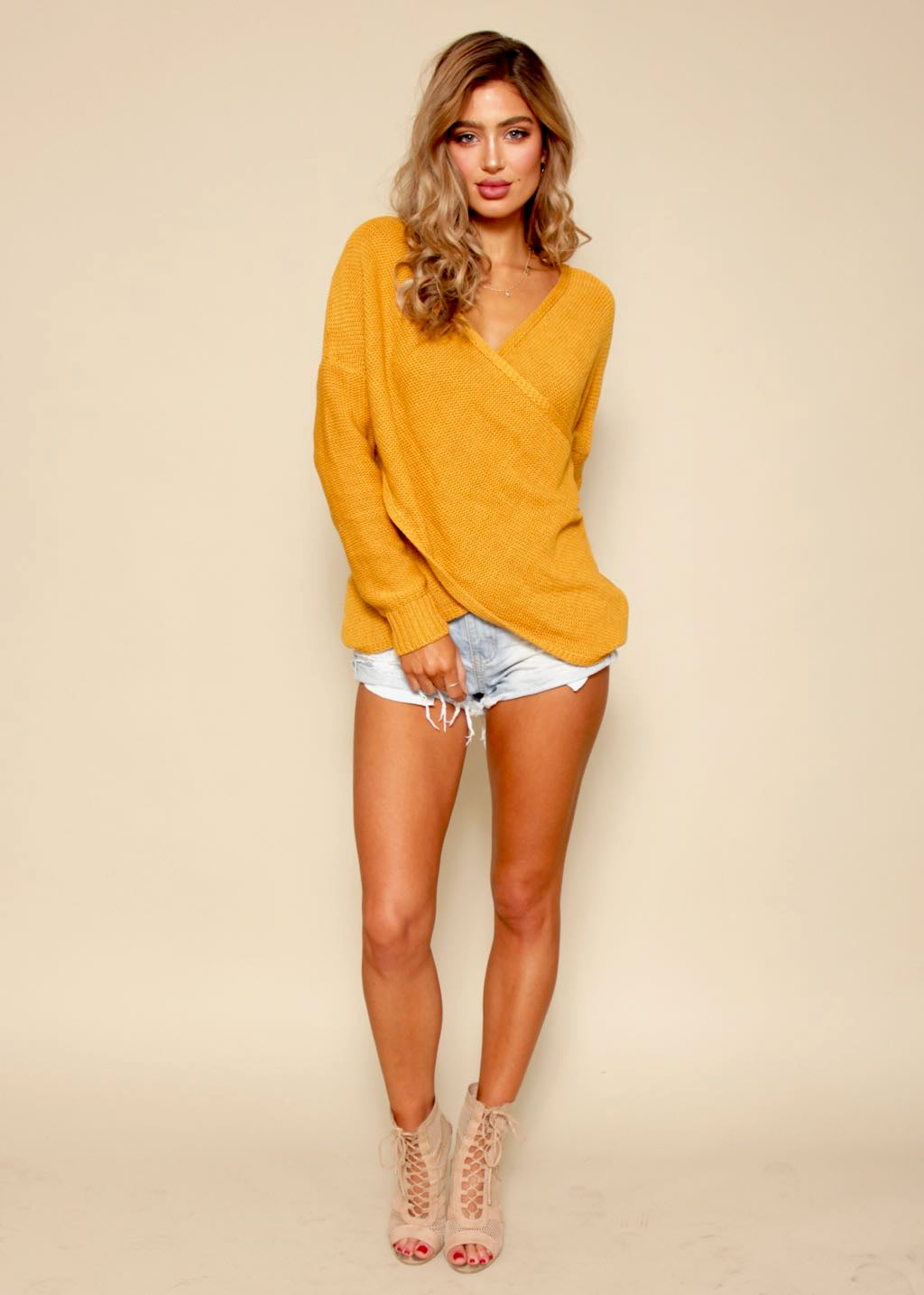 Sweet Caroline Crossover Sweater - Mustard