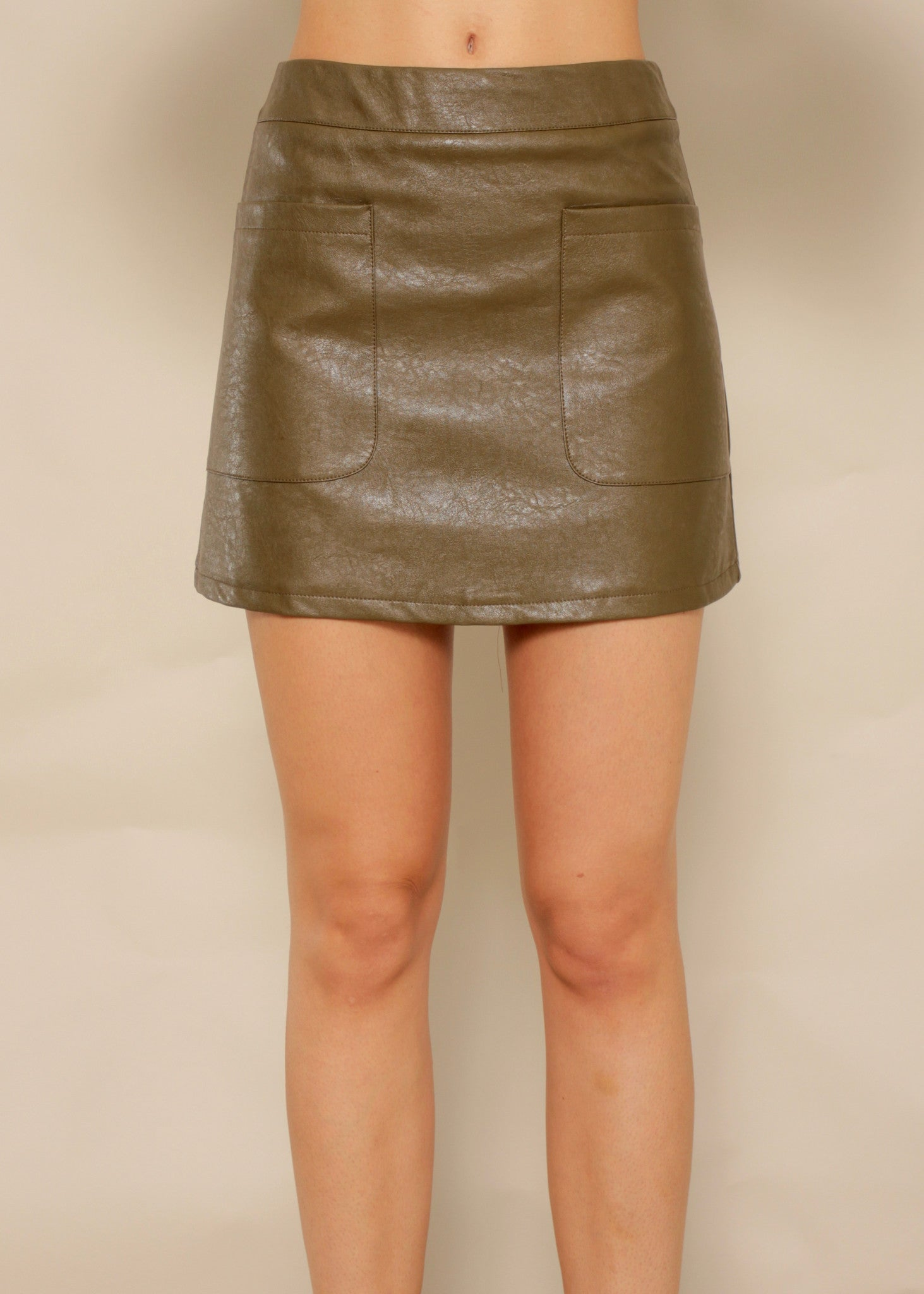 Sitting Pretty PU Skirt - Khaki Brown