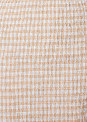 Absent Mind Midi Dress - Tan Gingham