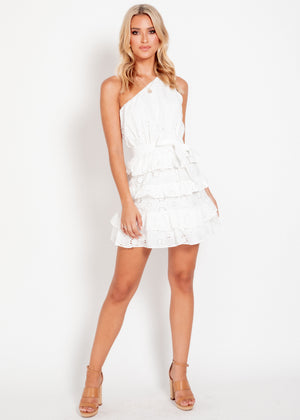 Ocean Eyes One Shoulder Dress - White Anglaise